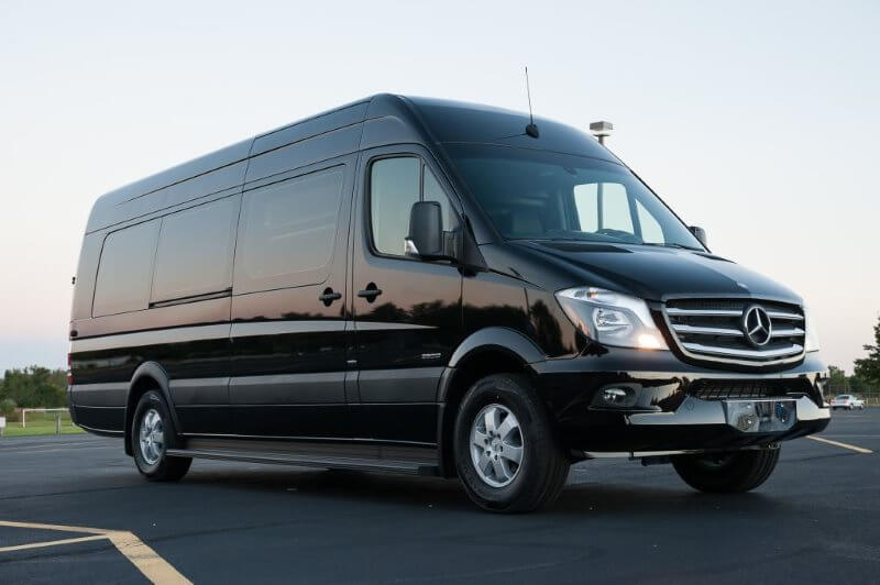 Charter Bus Tempe, AZ MB Sprinter Black Leather Seat 14 Passenger #11186