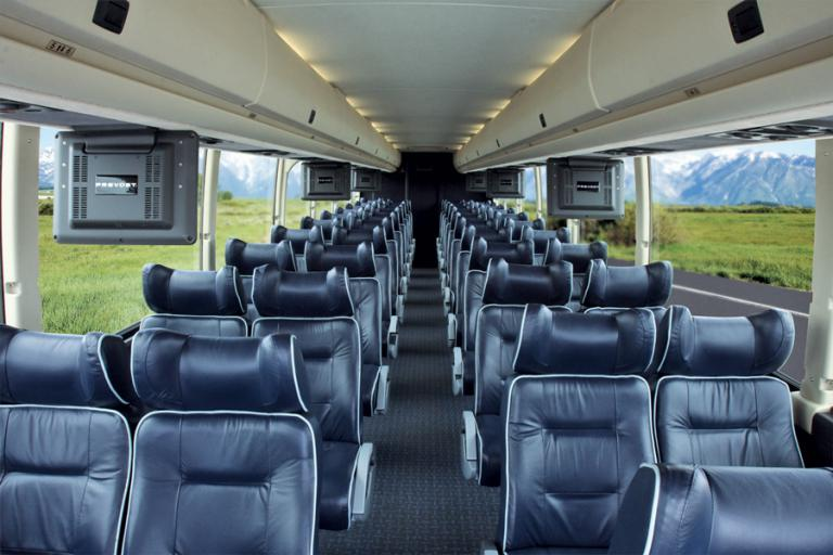Party Bus Rental Queen Creek, AZ Prevost Silver 56 Passenger #12730