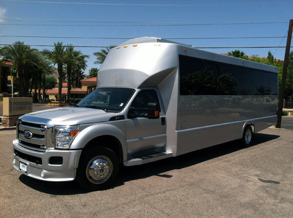 Party Bus Rental Tempe, AZ Silver Party Bus 25 Passengers