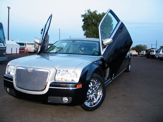 Party Bus Rental Gilbert, AZ Black/Silver  Chrysler 300 Limousine 10 Passenger